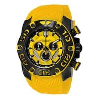 Stuhrling Orignal Men's Swiss Quartz Chief Commander Chrongraph Yellow Rubber Strap Watch - black