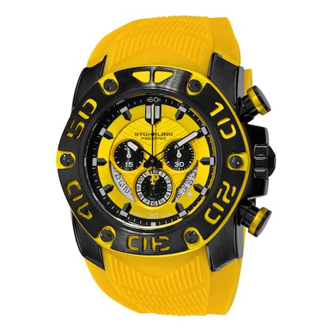 Stuhrling Orignal Men's Swiss Quartz Chief Commander Chrongraph Yellow Rubber Strap Watch - black