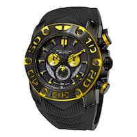 Stuhrling Orignal men's Swiss Quartz Chief commander Chromograph Black zrubber Srap Watch
