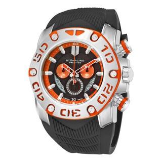 Stuhrling Original Men's Swiss Quartz Chief Commander chronograph Black Rubber Strap Watch