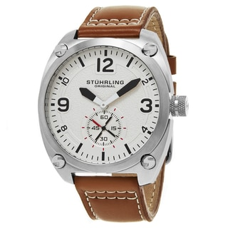 Stuhrling Original Men's Quartz Tuskegee Brown leather Strap Watch