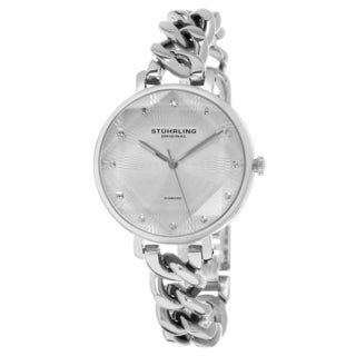Stuhrlling Orignal Women's Vogue Quartz Crystal Stainless Steel Chain Bracelet Watch