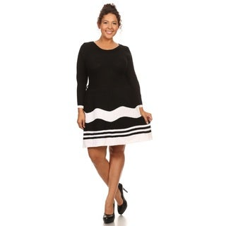 Hadari Women's Plus Size 3/4 Sleeve Knit Sweater Dress