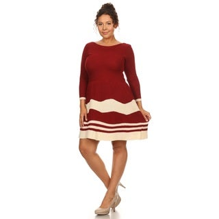 Hadari Women's Plus Size 3/4 Sleeve Boat Neck Dress