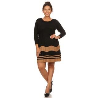 Hadari Women's Plus Size 3/4 Sleeve Boat Neck Dress