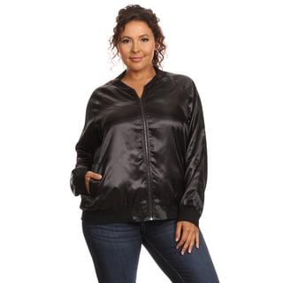 Hadari Women's Plus Size Long Sleeve Bomber Jacket