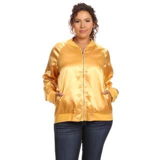 Hadari Women's Plus Size Long Sleeve Bomber Jacket (Option: Gold) https://ak1.ostkcdn.com/images/products/12359365/P19186310.jpg?impolicy=medium