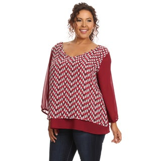 Hadari Women's Plus Size Long Sleeve Scoop Neck Blouse