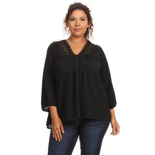 Hadari Women's Plus Size V-Neck Blouse
