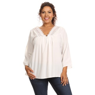 Hadari Women's Plus Size 3/4 Sleeve V-Neck Blouse
