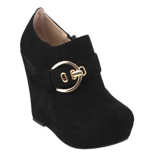 DBDK Women's Solid-colored Faux-suede Ankle Booties