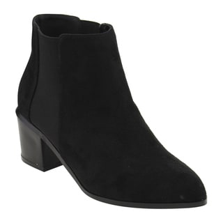 Athena Women's Faux Suede Stacked-heel Ankle Booties