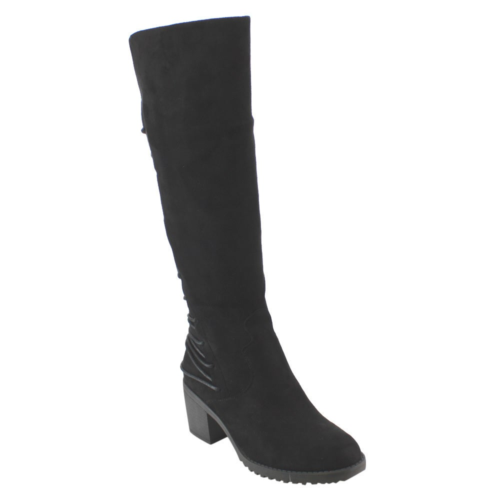 9b303dfa3c14 Shop Betani FD40 Women's Faux Suede Knee-high Lace-up Back Block-heel Boots  - Free Shipping On Orders Over $45 - Overstock - 12359435