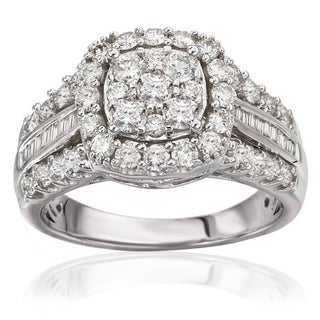 Avanti 14k White Gold 1 1/2ct TDW Cushion Halo Triple Shank Diamond Engagement Ring (J-K, I1-I2)