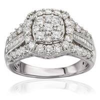 Avanti 14k White Gold 1 1/2ct TDW Cushion Halo Triple Shank Diamond Engagement Ring (J-K, I1-I2)