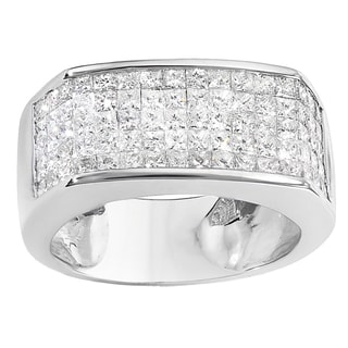 Elora 14k White Gold Men's 2ct TW Princess Diamond Wedding Band Ring (H-I, I1-I2)