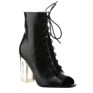 CAPE ROBBIN GD79 Women's Peep Toe Lace Up Lucite Block Heel Ankle Booties