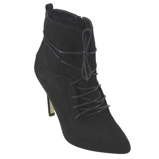 BETANI FD31 Women's Lace-up Stiletto Heel Dress Ankle Booties Half Size Small
