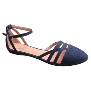 BETANI FD29 Women's Ankle Strap Cutout D'Orsay Ballet Flats One Size Big