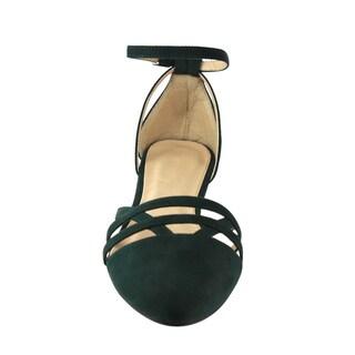 BETANI FD29 Women's Ankle Strap Cutout D'Orsay Ballet Flats One Size Big