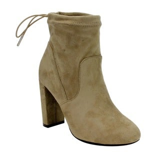 Qupis Women's FC87 Ankle-tie High Block-heel Booties