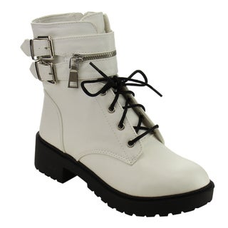 Qupid FC85 Women's Dual Buckle Strap Lace-up Mid-calf Combat Boots