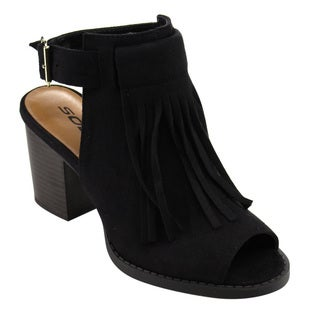 Soda FC43 Women's Fringe Buckle-strap Block-heel Cut-out Ankle Booties