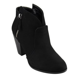 Qupid FC08 Women's Side-zipper Chunky-heel Ankle Booties