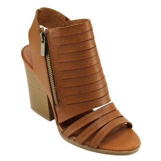 QUPID FC32 Women's Cutout Slits Strappy Block Heel Huarache Ankle Booties