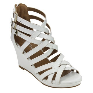 Forever Women's GD50 Buckled Low Platform Strappy Wedged Sandals