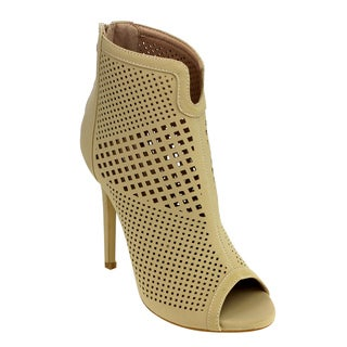 Forever GD47 Women's Peep Toe Hollow Out Rear Entry Stiletto Booties