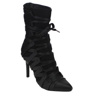 Forever Women's GD45 Pointed-toe Lace-up Back-zipper Stiletto Boots