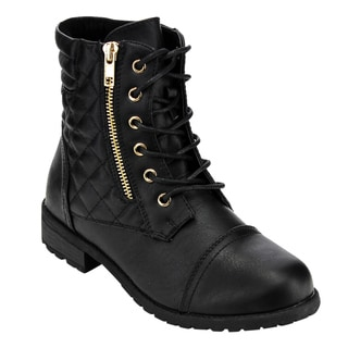 Forever Women's GD43 Lace-Up Zipper Quilting Casual Ankle Booties