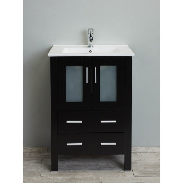 Shop eviva vines 24 inch espresso wood bathroom vanity with integrated white porcelain sink for Freestanding 24 inch bathroom vanity