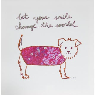 Tori Higa 'Dog Smile' 12-inch x 12-inch Canvas Art