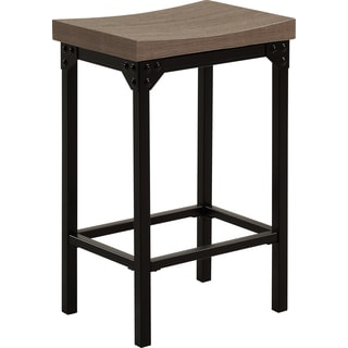 Global Metal/Wood Square Backless Bar Stool