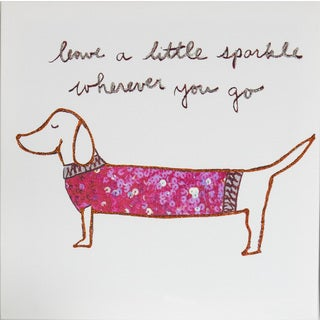 Tori Higa 'Dog Sparkle' 12-inch x 12-inch Canvas Art