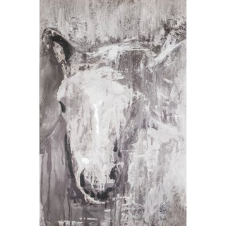 Hadden Spotts 'Horse Abstract' Grey Canvas Art (24 x 36)