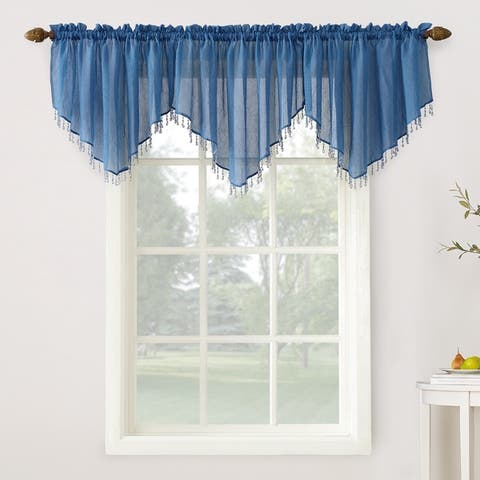 No. 918 Erica Sheer Crush Voile Single Ascot Curtain Valance - 51x24