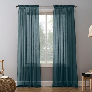 No. 918 Erica Sheer Crushed Voile Single Curtain Panel (51 x 84 - Teal)