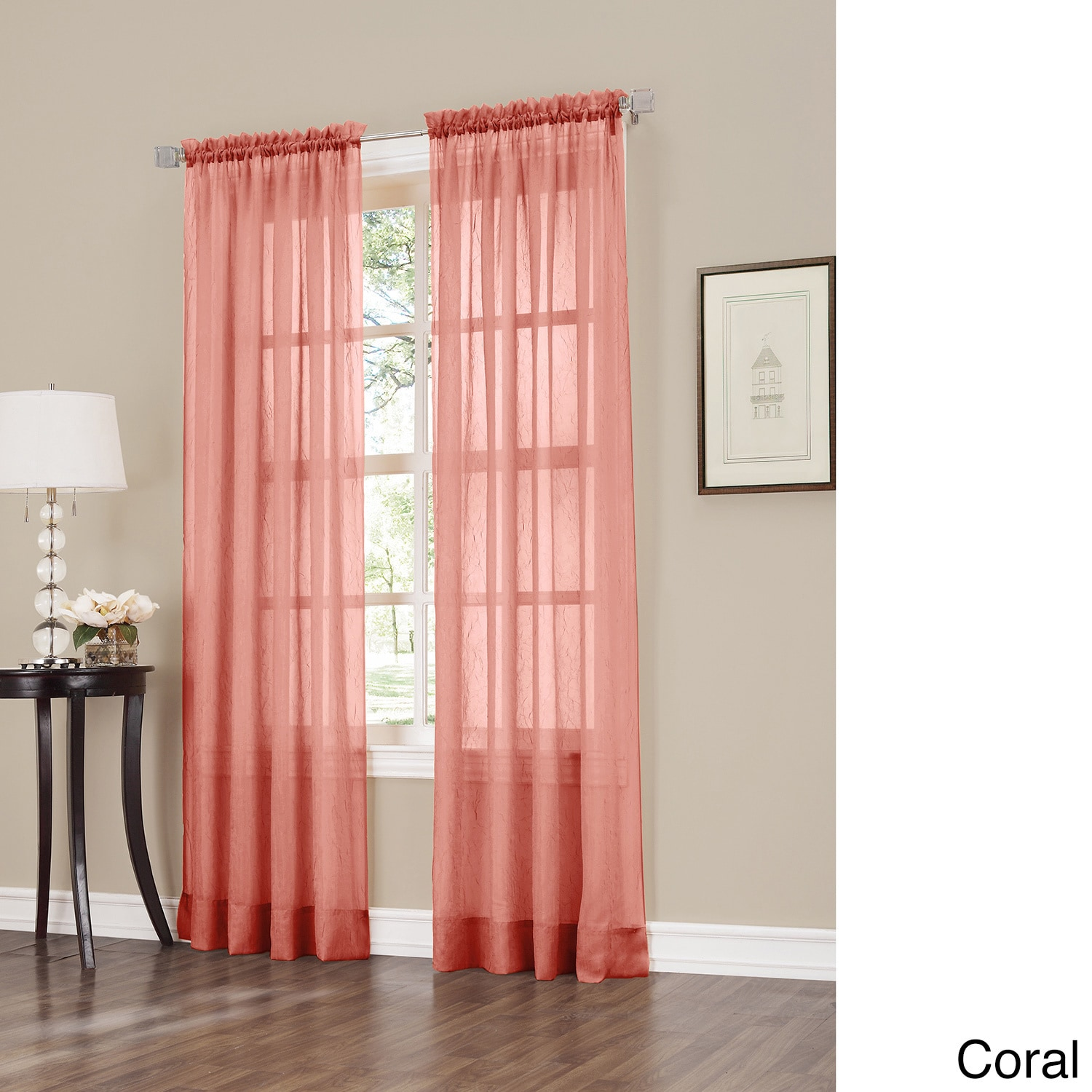 918 Erica Sheer Crushed Voile Single Curtain Panel (2 Options Available)