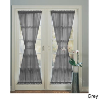 No. 918 Emily Sheer Voile Single Solid-colored Patio Door Curtain Panel (Option: Grey)