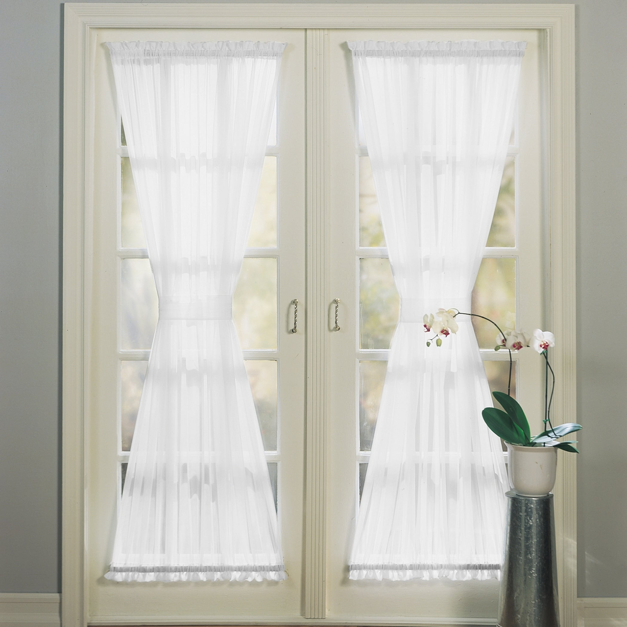 Shop Black Friday Deals On No 918 Emily Sheer Voile Solid Single Patio Door Curtain Panel Overstock 12361203 59 X 40 Eggshell