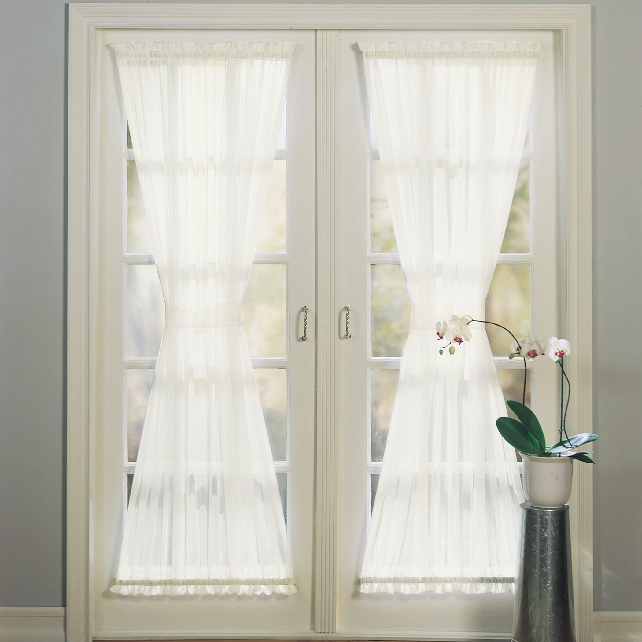 No 918 Emily Sheer Voile Solid Single Patio Door Curtain Panel Overstock 12361203