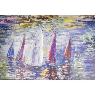 Lena Owens 'Sailboats' 24 x 36 Canvas Art