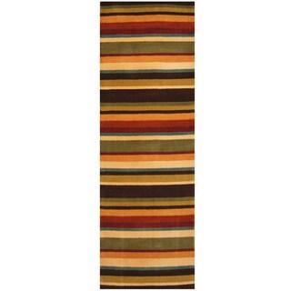 Herat Oriental Indo Hand-tufted Stripe Wool Runner (2'6 x 7'6)