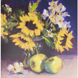 Laurie Johnson 'Sunflowers' 20-inches Wide x 20-inches High Canvas Art