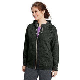 Champion Women's Plus French Solid-colored Cotton-blended Full-zip Hoodie