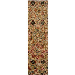 Herat Oriental Indo Hand-tufted Floral Wool Runner (2' x 7')