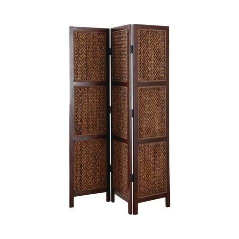 Coaster Company Brown Wood Woven Banana Leaf Three-panel Folding Screen